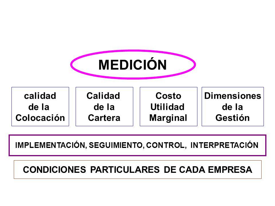 MEDICIÓN calidad de la Colocación Calidad de la Cartera Costo Utilidad Marginal Dimensiones de la Gestión IMPLEMENTACIÓN, SEGUIMIENTO, CONTROL, INTERP