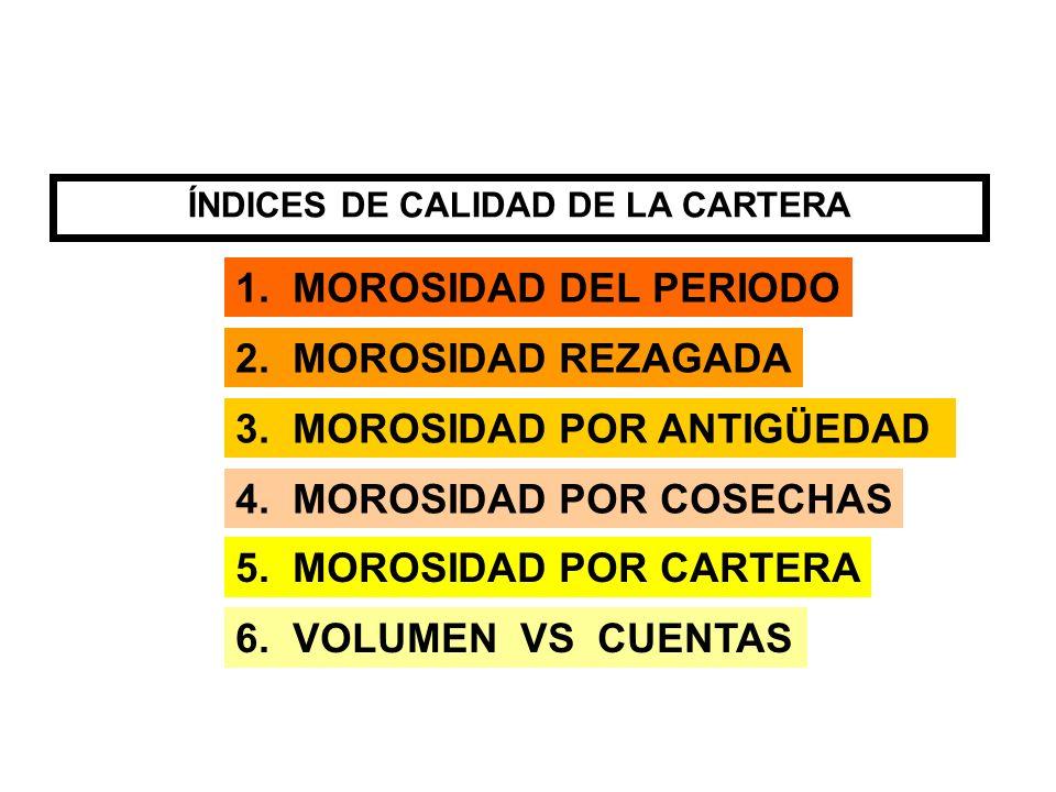 1. MOROSIDAD DEL PERIODO 2. MOROSIDAD REZAGADA 3. MOROSIDAD POR ANTIGÜEDAD 4. MOROSIDAD POR COSECHAS 5. MOROSIDAD POR CARTERA 6. VOLUMEN VS CUENTAS ÍN