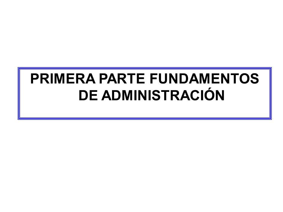 PRIMERA PARTE FUNDAMENTOS DE ADMINISTRACIÓN