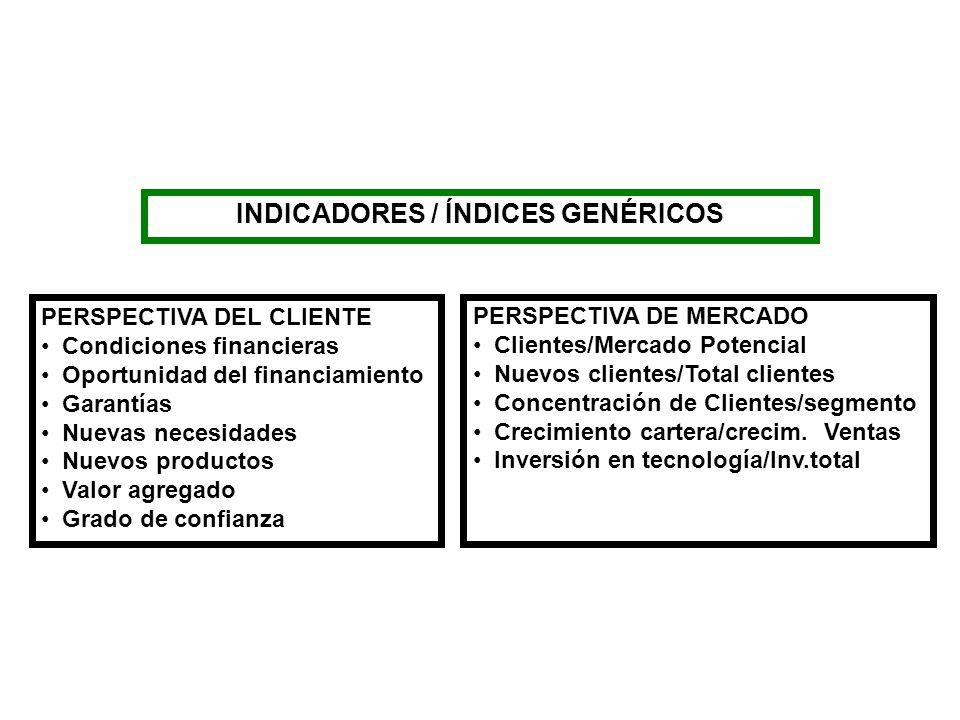 INDICADORES / ÍNDICES GENÉRICOS PERSPECTIVA DEL CLIENTE Condiciones financieras Oportunidad del financiamiento Garantías Nuevas necesidades Nuevos pro