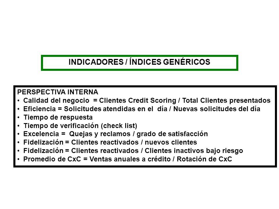 INDICADORES / ÍNDICES GENÉRICOS PERSPECTIVA INTERNA Calidad del negocio = Clientes Credit Scoring / Total Clientes presentados Eficiencia = Solicitude