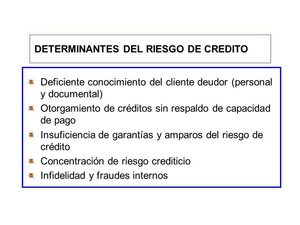 Deficiente conocimiento del cliente deudor (personal y documental) Otorgamiento de créditos sin respaldo de capacidad de pago Insuficiencia de garantí