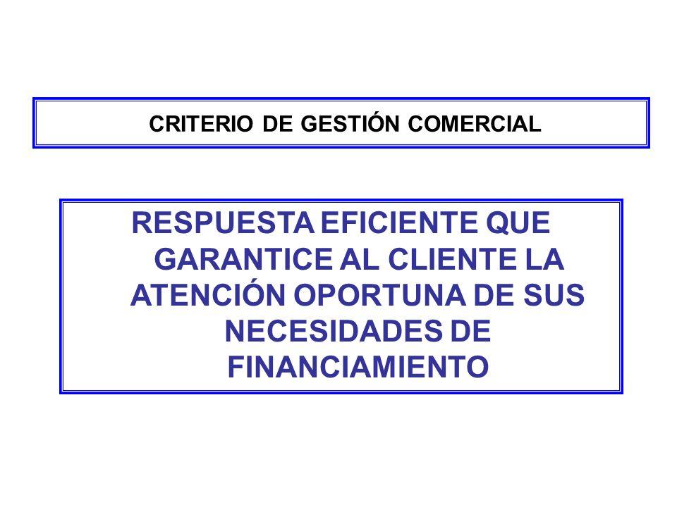 CRITERIO DE GESTIÓN COMERCIAL RESPUESTA EFICIENTE QUE GARANTICE AL CLIENTE LA ATENCIÓN OPORTUNA DE SUS NECESIDADES DE FINANCIAMIENTO