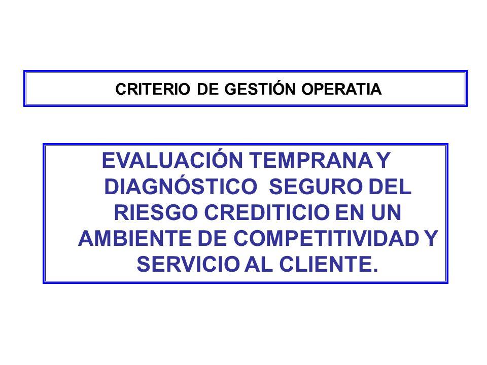 CRITERIO DE GESTIÓN OPERATIA EVALUACIÓN TEMPRANA Y DIAGNÓSTICO SEGURO DEL RIESGO CREDITICIO EN UN AMBIENTE DE COMPETITIVIDAD Y SERVICIO AL CLIENTE.