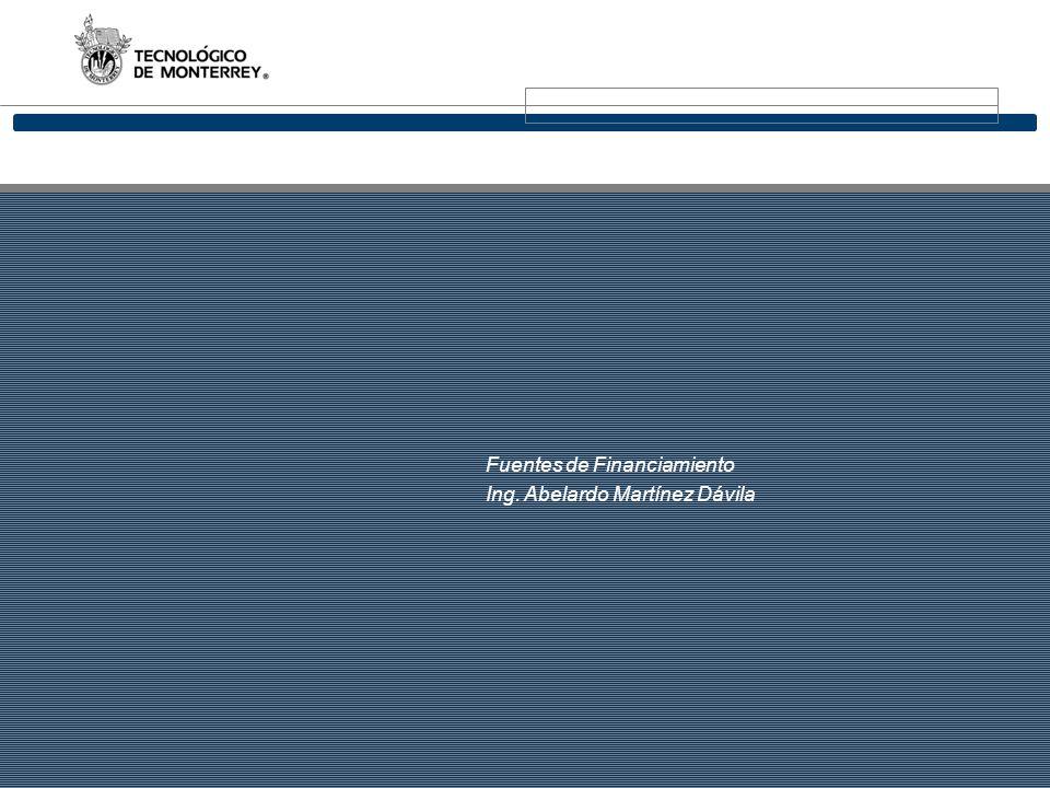 1 Fuentes de Financiamiento Ing. Abelardo Martínez Dávila