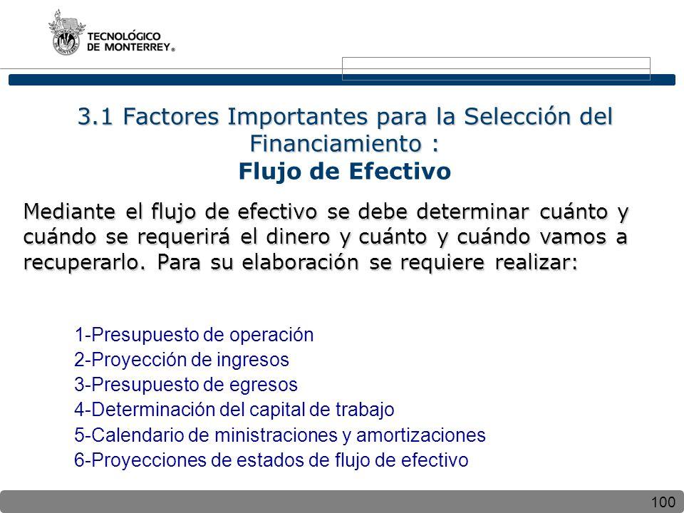 100 3.1 Factores Importantes para la Selección del Financiamiento : 3.1 Factores Importantes para la Selección del Financiamiento : Flujo de Efectivo