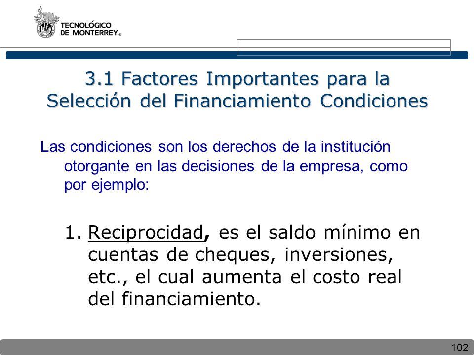 102 3.1 Factores Importantes para la Selección del Financiamiento Condiciones Las condiciones son los derechos de la institución otorgante en las decisiones de la empresa, como por ejemplo: 1.Reciprocidad, es el saldo mínimo en cuentas de cheques, inversiones, etc., el cual aumenta el costo real del financiamiento.