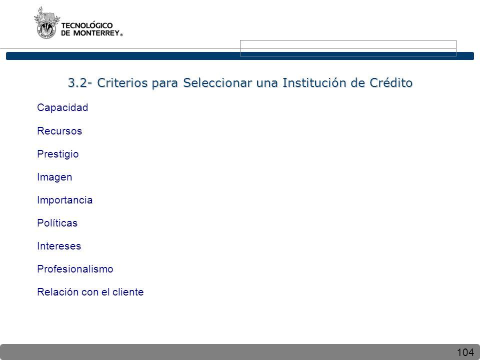104 3.2- Criterios para Seleccionar una Institución de Crédito Capacidad Recursos Prestigio Imagen Importancia Políticas Intereses Profesionalismo Relación con el cliente