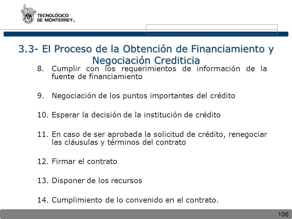 106 3.3- El Proceso de la Obtención de Financiamiento y Negociación Crediticia 8.Cumplir con los requerimientos de información de la fuente de financiamiento 9.Negociación de los puntos importantes del crédito 10.Esperar la decisión de la institución de crédito 11.En caso de ser aprobada la solicitud de crédito, renegociar las cláusulas y términos del contrato 12.Firmar el contrato 13.Disponer de los recursos 14.Cumplimiento de lo convenido en el contrato.