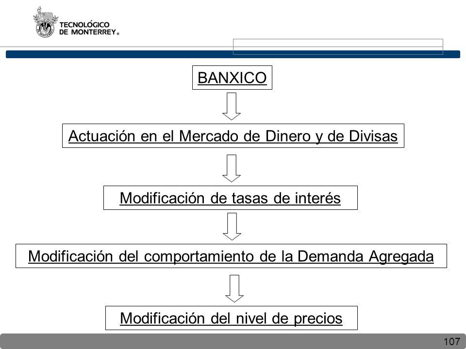 107 BANXICO Actuación en el Mercado de Dinero y de Divisas Modificación de tasas de interés Modificación del comportamiento de la Demanda Agregada Modificación del nivel de precios