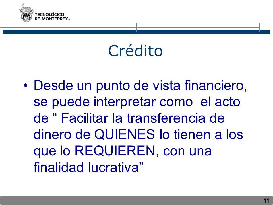 11 Crédito Desde un punto de vista financiero, se puede interpretar como el acto de Facilitar la transferencia de dinero de QUIENES lo tienen a los que lo REQUIEREN, con una finalidad lucrativa