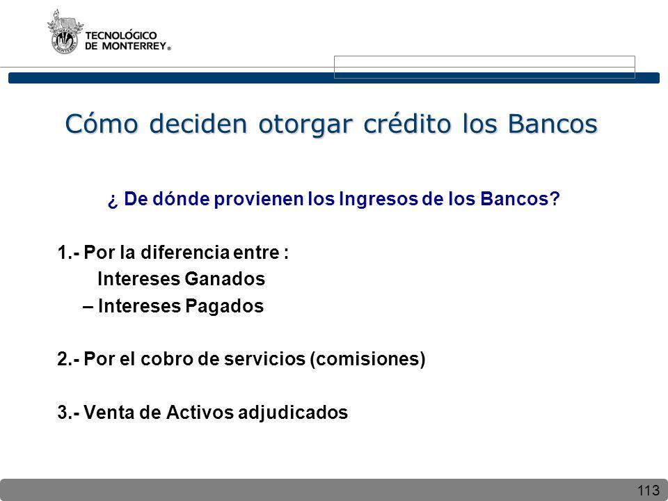 113 Cómo deciden otorgar crédito los Bancos ¿ De dónde provienen los Ingresos de los Bancos? 1.- Por la diferencia entre : Intereses Ganados – Interes