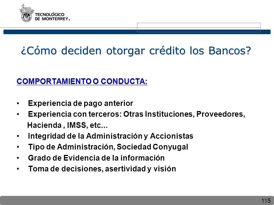 115 ¿Cómo deciden otorgar crédito los Bancos? COMPORTAMIENTO O CONDUCTA: Experiencia de pago anterior Experiencia con terceros: Otras Instituciones, P