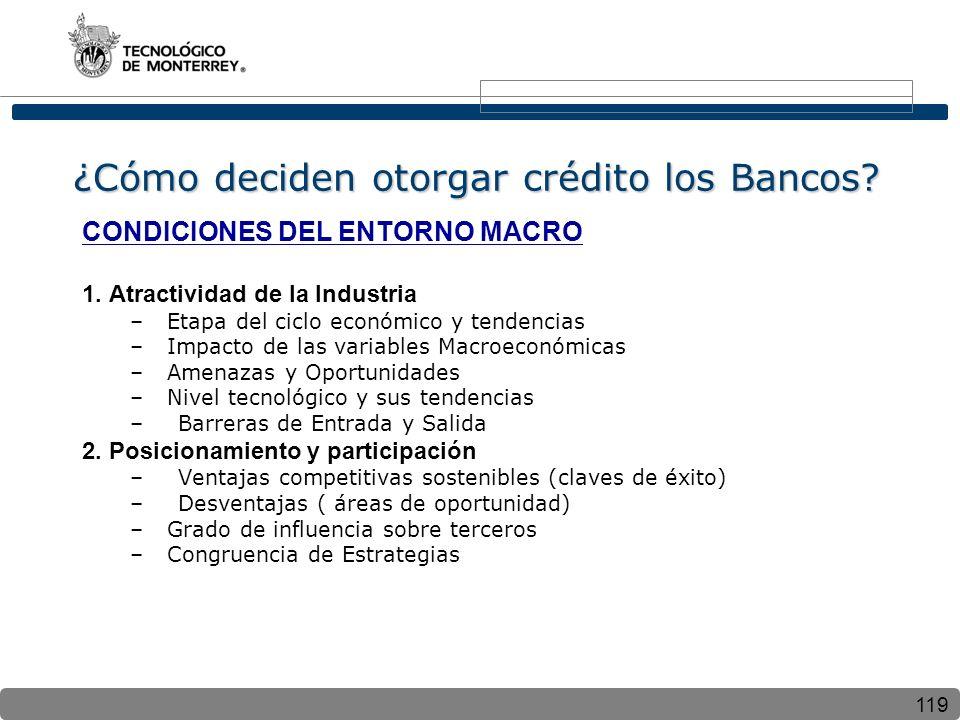 119 ¿Cómo deciden otorgar crédito los Bancos? CONDICIONES DEL ENTORNO MACRO 1. Atractividad de la Industria – Etapa del ciclo económico y tendencias –