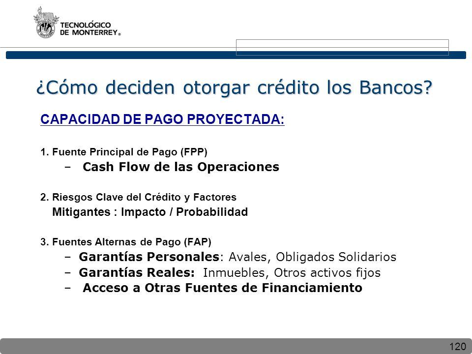 120 ¿Cómo deciden otorgar crédito los Bancos? CAPACIDAD DE PAGO PROYECTADA: 1. Fuente Principal de Pago (FPP) – Cash Flow de las Operaciones 2. Riesgo