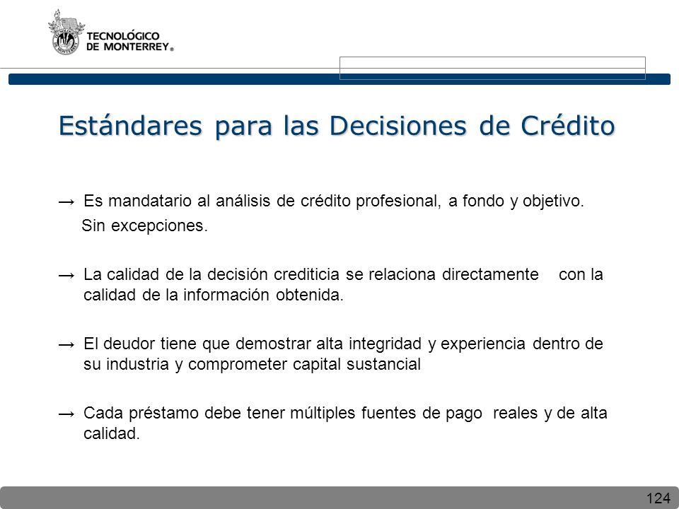 124 Estándares para las Decisiones de Crédito Es mandatario al análisis de crédito profesional, a fondo y objetivo. Sin excepciones. La calidad de la