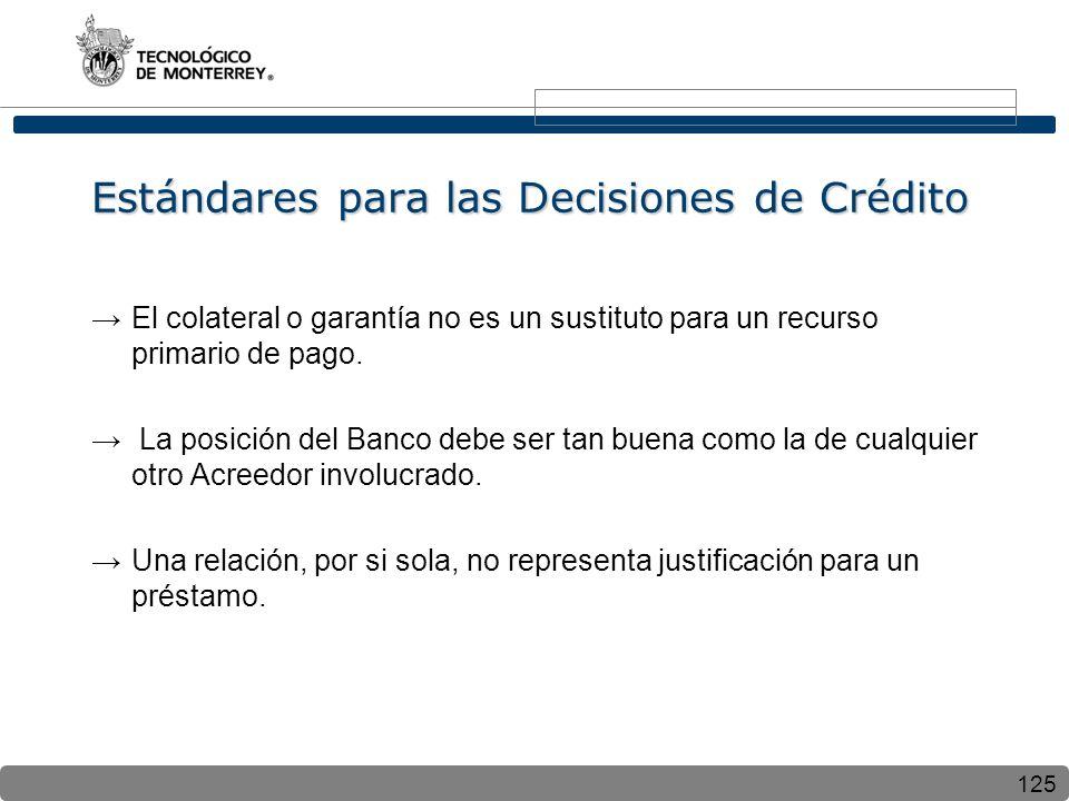 125 Estándares para las Decisiones de Crédito El colateral o garantía no es un sustituto para un recurso primario de pago. La posición del Banco debe