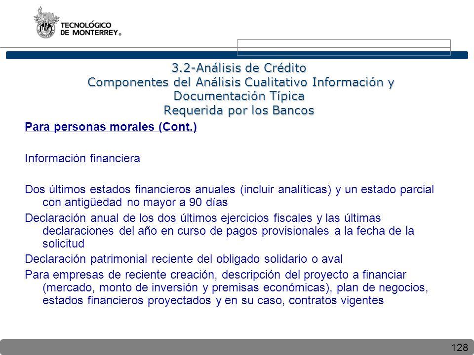 128 3.2-Análisis de Crédito Componentes del Análisis Cualitativo Información y Documentación Típica Requerida por los Bancos Para personas morales (Co