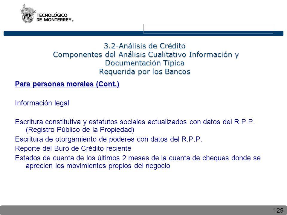 129 3.2-Análisis de Crédito Componentes del Análisis Cualitativo Información y Documentación Típica Requerida por los Bancos Para personas morales (Co