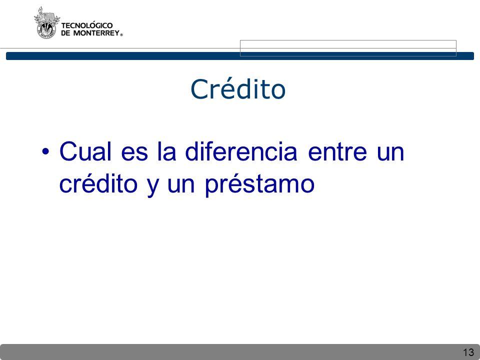 13 Crédito Cual es la diferencia entre un crédito y un préstamo