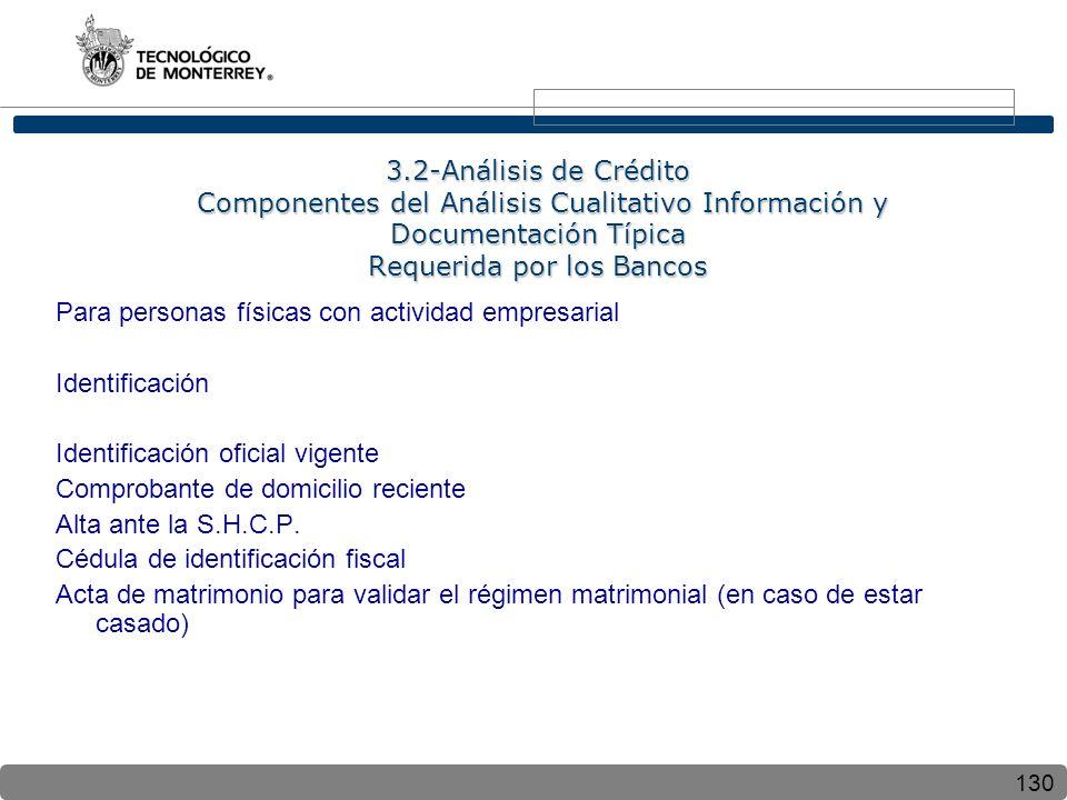 130 3.2-Análisis de Crédito Componentes del Análisis Cualitativo Información y Documentación Típica Requerida por los Bancos Para personas físicas con