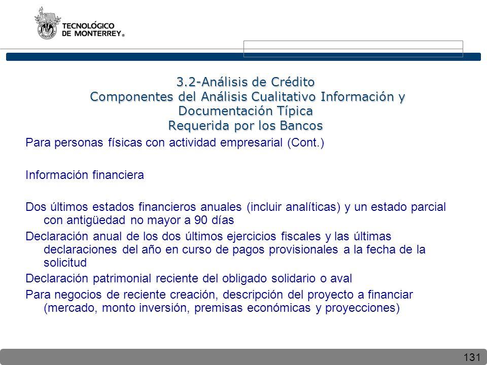 131 3.2-Análisis de Crédito Componentes del Análisis Cualitativo Información y Documentación Típica Requerida por los Bancos Para personas físicas con