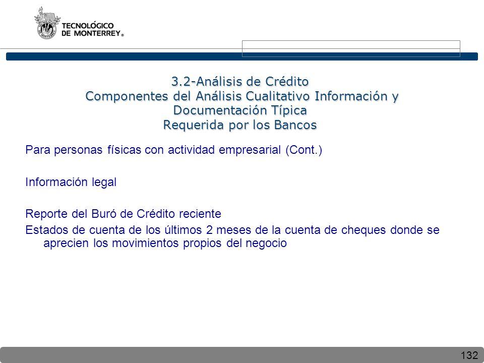 132 3.2-Análisis de Crédito Componentes del Análisis Cualitativo Información y Documentación Típica Requerida por los Bancos Para personas físicas con