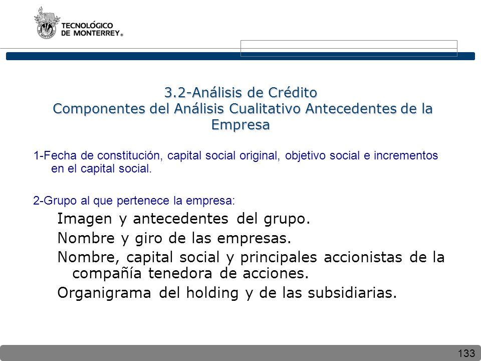 133 3.2-Análisis de Crédito Componentes del Análisis Cualitativo Antecedentes de la Empresa 1-Fecha de constitución, capital social original, objetivo