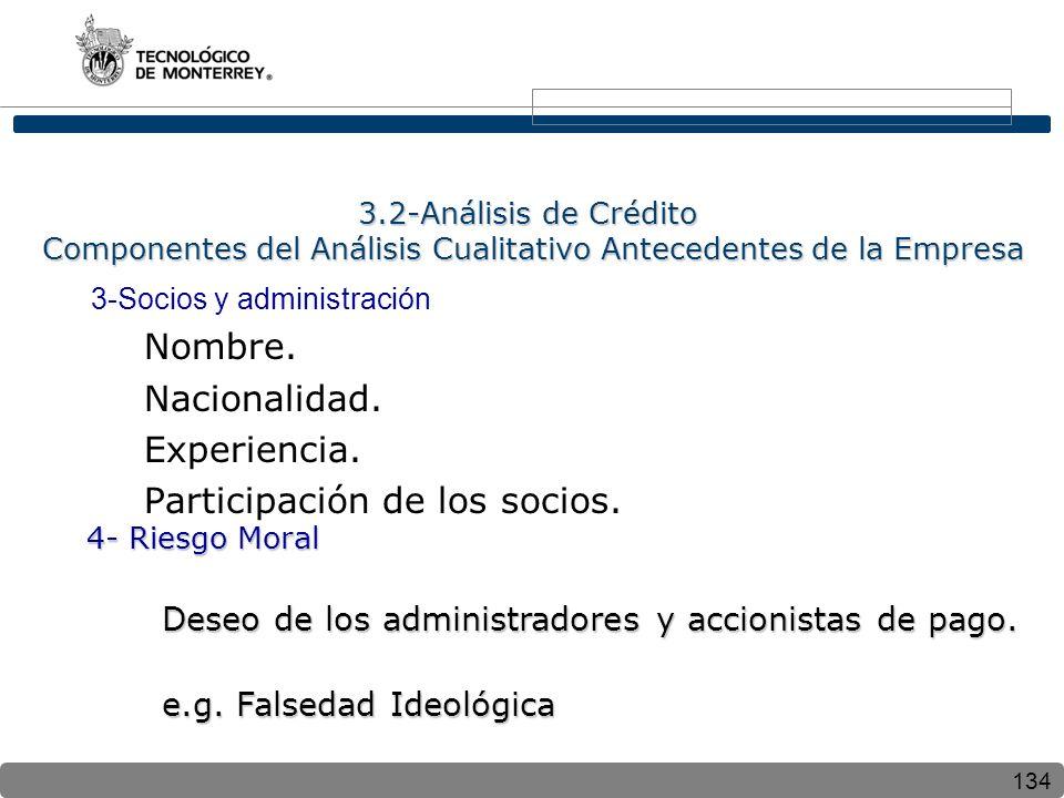 134 3.2-Análisis de Crédito Componentes del Análisis Cualitativo Antecedentes de la Empresa 3-Socios y administración Nombre. Nacionalidad. Experienci