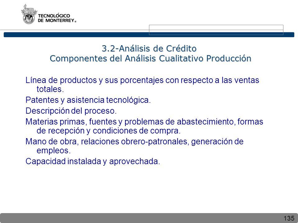 135 3.2-Análisis de Crédito Componentes del Análisis Cualitativo Producción Línea de productos y sus porcentajes con respecto a las ventas totales. Pa