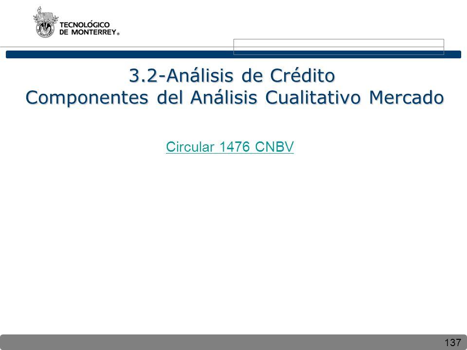 137 3.2-Análisis de Crédito Componentes del Análisis Cualitativo Mercado Circular 1476 CNBV