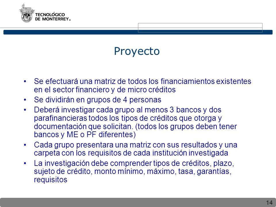 14 Proyecto Se efectuará una matriz de todos los financiamientos existentes en el sector financiero y de micro créditos Se dividirán en grupos de 4 pe