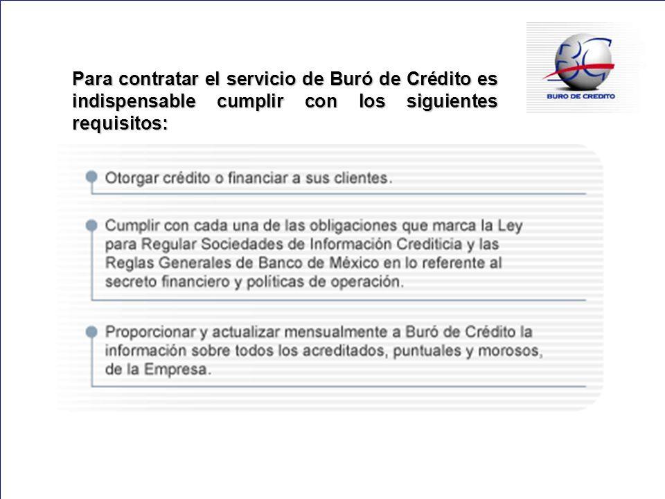 147 Para contratar el servicio de Buró de Crédito es indispensable cumplir con los siguientes requisitos: