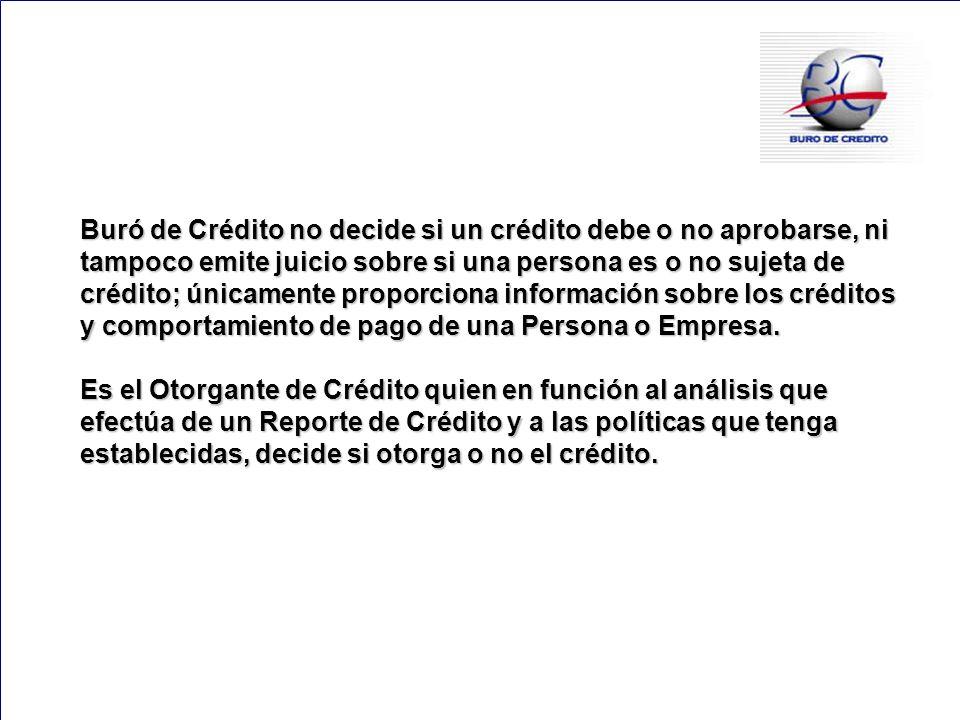 148 Buró de Crédito no decide si un crédito debe o no aprobarse, ni tampoco emite juicio sobre si una persona es o no sujeta de crédito; únicamente pr