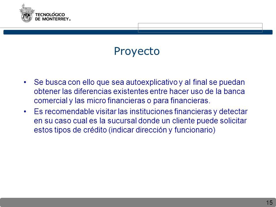 15 Proyecto Se busca con ello que sea autoexplicativo y al final se puedan obtener las diferencias existentes entre hacer uso de la banca comercial y las micro financieras o para financieras.