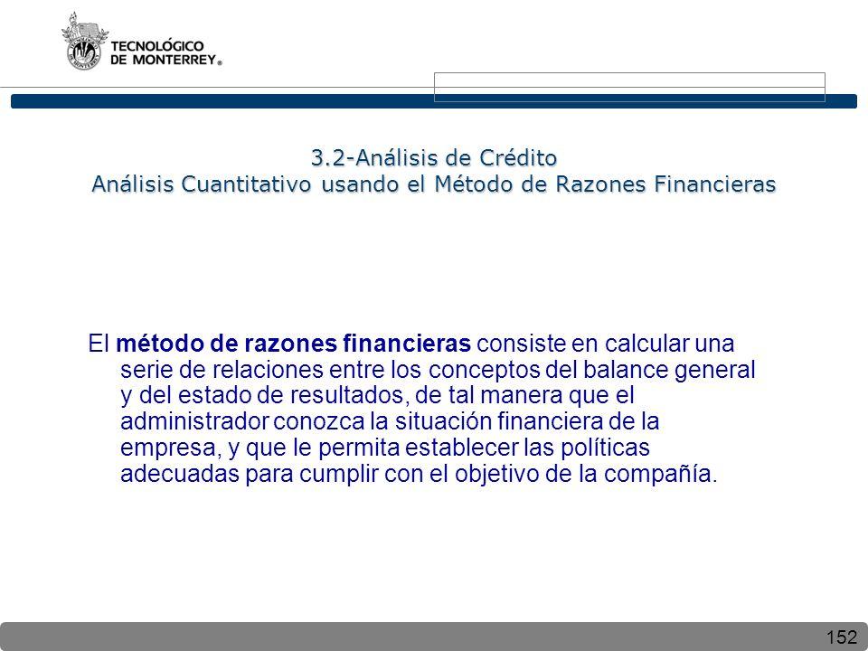 152 3.2-Análisis de Crédito Análisis Cuantitativo usando el Método de Razones Financieras El método de razones financieras consiste en calcular una se