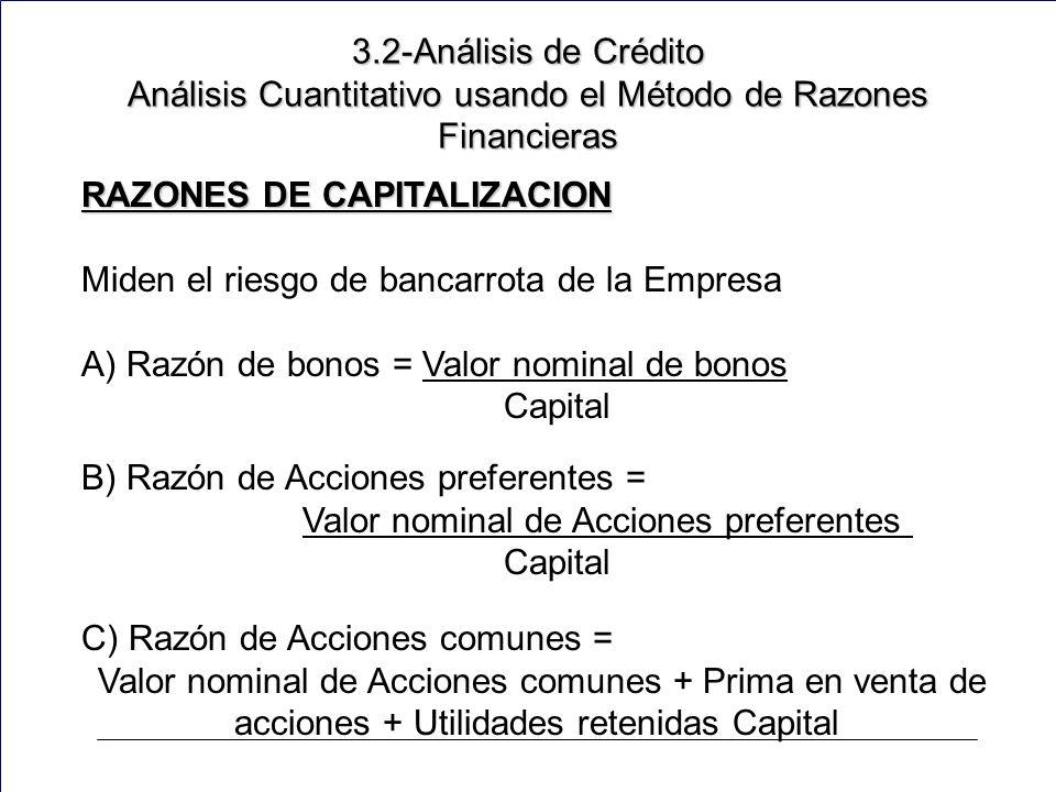 155 RAZONES DE CAPITALIZACION Miden el riesgo de bancarrota de la Empresa A) Razón de bonos = Valor nominal de bonos Capital B) Razón de Acciones preferentes = Valor nominal de Acciones preferentes Capital C) Razón de Acciones comunes = Valor nominal de Acciones comunes + Prima en venta de acciones + Utilidades retenidas Capital 3.2-Análisis de Crédito Análisis Cuantitativo usando el Método de Razones Financieras