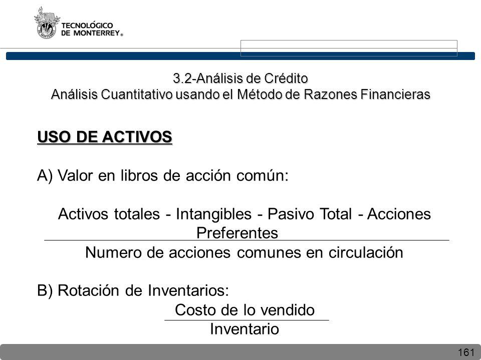 161 USO DE ACTIVOS A) Valor en libros de acción común: Activos totales - Intangibles - Pasivo Total - Acciones Preferentes Numero de acciones comunes
