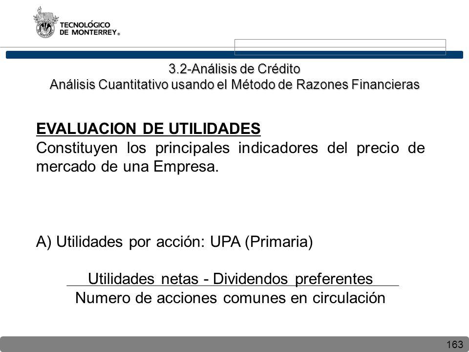 163 EVALUACION DE UTILIDADES Constituyen los principales indicadores del precio de mercado de una Empresa. A) Utilidades por acción: UPA (Primaria) Ut