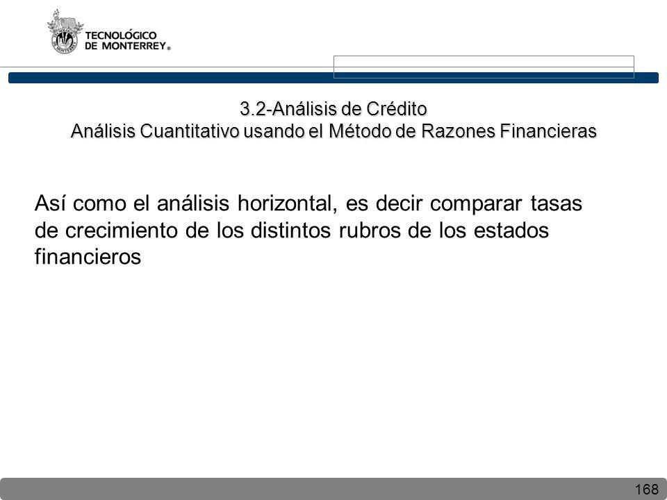 168 Así como el análisis horizontal, es decir comparar tasas de crecimiento de los distintos rubros de los estados financieros 3.2-Análisis de Crédito Análisis Cuantitativo usando el Método de Razones Financieras