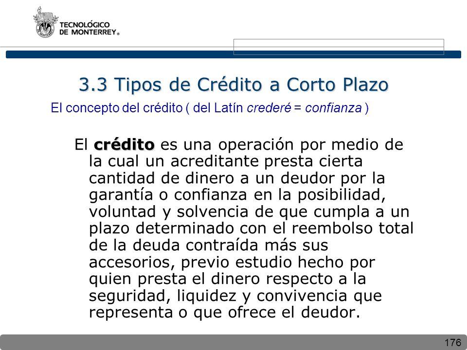 176 3.3 Tipos de Crédito a Corto Plazo El concepto del crédito ( del Latín crederé = confianza ) crédito El crédito es una operación por medio de la c