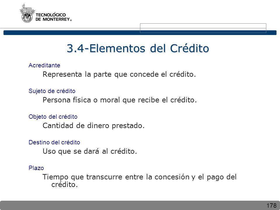 178 3.4-Elementos del Crédito Acreditante Representa la parte que concede el crédito. Sujeto de crédito Persona física o moral que recibe el crédito.