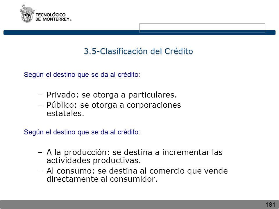 181 3.5-Clasificación del Crédito Según el destino que se da al crédito: –Privado: se otorga a particulares. –Público: se otorga a corporaciones estat