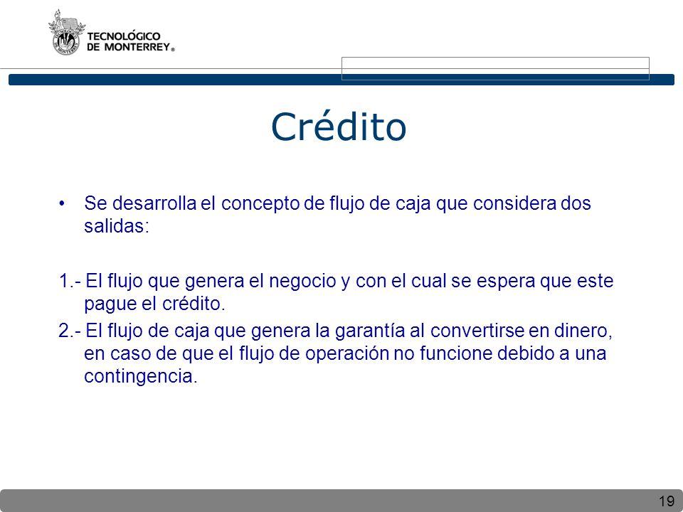 19 Crédito Se desarrolla el concepto de flujo de caja que considera dos salidas: 1.- El flujo que genera el negocio y con el cual se espera que este pague el crédito.