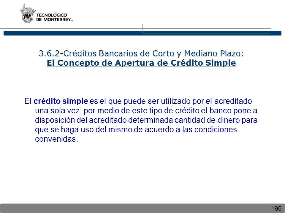 196 3.6.2-Créditos Bancarios de Corto y Mediano Plazo: 3.6.2-Créditos Bancarios de Corto y Mediano Plazo: El Concepto de Apertura de Crédito Simple El