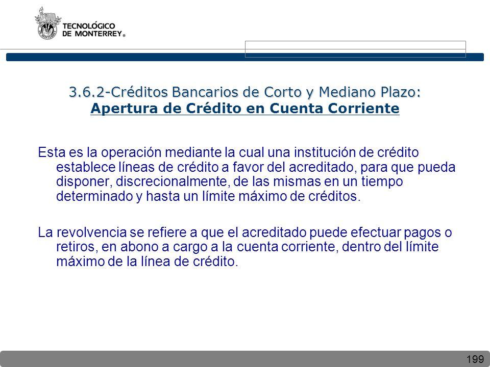 199 3.6.2-Créditos Bancarios de Corto y Mediano Plazo: 3.6.2-Créditos Bancarios de Corto y Mediano Plazo: Apertura de Crédito en Cuenta Corriente Esta