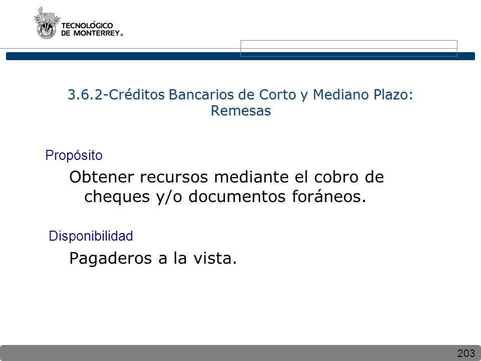 203 3.6.2-Créditos Bancarios de Corto y Mediano Plazo: Remesas Propósito Obtener recursos mediante el cobro de cheques y/o documentos foráneos. Dispon