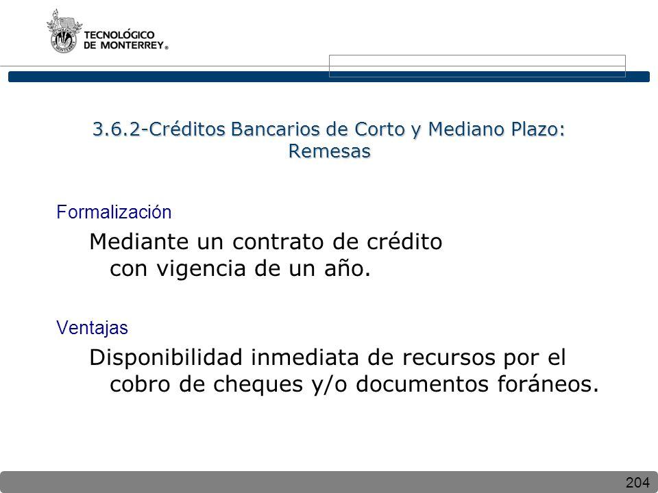 204 3.6.2-Créditos Bancarios de Corto y Mediano Plazo: Remesas Formalización Mediante un contrato de crédito con vigencia de un año. Ventajas Disponib