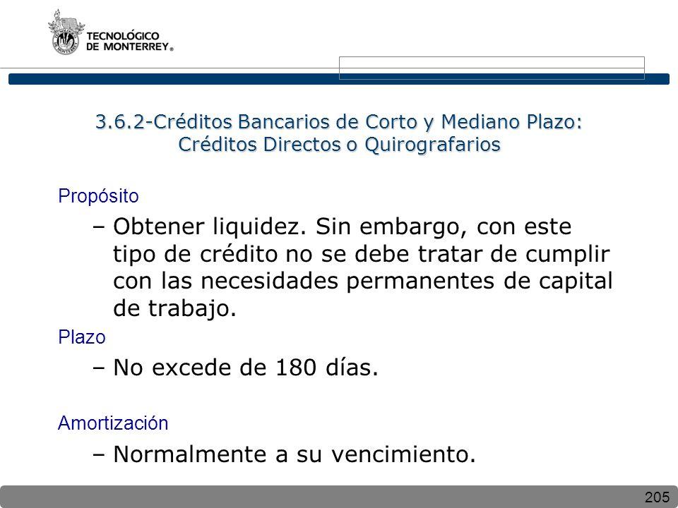 205 3.6.2-Créditos Bancarios de Corto y Mediano Plazo: Créditos Directos o Quirografarios Propósito –Obtener liquidez. Sin embargo, con este tipo de c