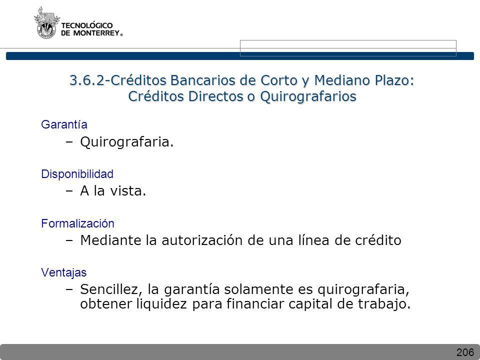 206 3.6.2-Créditos Bancarios de Corto y Mediano Plazo: Créditos Directos o Quirografarios Garantía –Quirografaria. Disponibilidad –A la vista. Formali